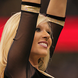 2008 December, 28: New Orleans Saints cheerleader perform during a week 17 game between NFC South divisional rivals the Carolina Panthers and the New Orleans Saints at the Louisiana Superdome in New Orleans, LA.