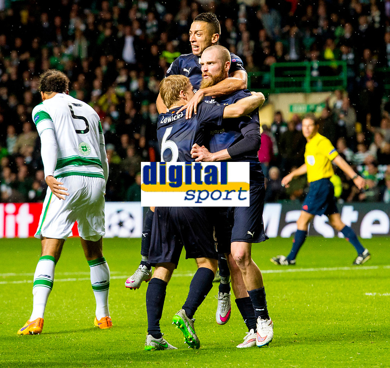 19/08/15 UEFA CHAMPIONS LEAGUE PLAY-OFF 1ST LEG<br /> CELTIC V MALMO<br /> CELTIC PARK - GLASGOW<br /> Jo Inge Berget celebrates his second for Malmo.