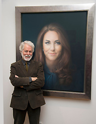 Unveiling of the first official painted portrait of the Duchess of Cambridge on display at the National Portrait Gallery from today, painted by artist Paul Elmsley seen next to the portrait, London, UK, January 11, 2013. Photo by i-Images.