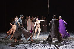 © Licensed to London News Pictures. 10/11/2015. London, UK. Sacre performed to Stravinsky's The Rite of Spring with Maria Marta Colusi performing a solo. Dress rehearsal of Berlin-based dance troupe Sasha Waltz & Guests performing the UK premiere of Sacre, a triple bill, at Sadler's Wells Theatre from 11 to 13 November 2015. Photo credit: Bettina Strenske/LNP
