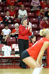26 October 2007: Sharon Dingman cheers on her team during the final few points of the 3rd game. The Drake Bulldogs were defeated 3 - 0  by the Illinois State Redbirds at Redbird Arena on the campus of Illinois State University in Normal Illinois.