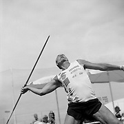 61-year-old senior athlete Michel Lantenant of France is photographed participating in the 60-64 age bracket men's javelin event during the 2007 World Masters Championships Stadia (track and field competition) at Riccione Stadium in Riccione, Italy on September 6, 2007. ..9,000 male and female athletes over the age of 35 from 90 countries competed in two weeks of track and field events at the 17th annual event. The event is run by  the World Association of Masters Athletes, the organization designated by the IAAF (The International Association of Athletics Federations) to conduct the worldwide sport of masters athletics. The organization runs competitions and maintains record standings in the 5-year increment age divisions.  ...