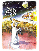 (An American space capsule whizzes past an aliens' city with an alien version of the Statue of Liberty)