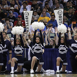 Mar 26, 2011; New Orleans, LA; Butler Bulldogs cheerleaders perform courtside during the second half of the semifinals of the southeast regional of the 2011 NCAA men's basketball tournament against the Florida Gators at New Orleans Arena.   Mandatory Credit: Derick E. Hingle