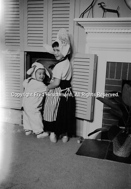 Freddy as rabbit and Carol Hirschman as Dutch Girl, Halloween, Franklin, Michigan