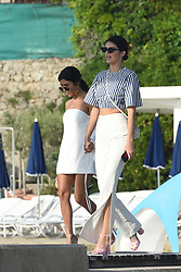 Exclusive - Kendall Jenner and Kourtney Kardashian stop for a drink by Hotel Belles Rives in Juan-les-Pins, near Cannes, France, May 23, 2017. Photo by ABACAPRESS.COM