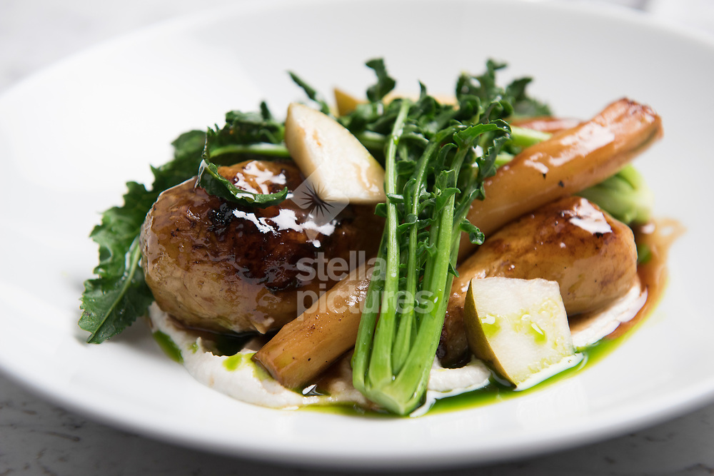 Roasted root vegetables, almond, pear and parsley at Ham as part of Evening Standard restaurant review.<br /> Picture by Daniel Hambury/@stellapicsltd 07813022858<br /> 10/03/2018