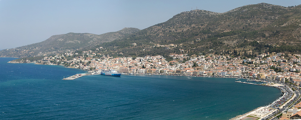 Samos. Greece. Vathy or Samos town is situated on a horseshoe shaped bay and is the capital and largest town of Samos.
