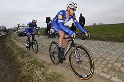March 23, 2018 - Harelbeke, BELGIUM - Belgian Yves Lampaert of Quick-Step Floors and Dutch Niki Terpstra of Quick-Step Floors ride next to the cobble stones during the 61st edition of the 'E3 Prijs Vlaanderen Harelbeke' cycling race, 206,5 km from and to Harelbeke, Friday 23 March 2018...BELGA PHOTO DIRK WAEM (Credit Image: © Dirk Waem/Belga via ZUMA Press)