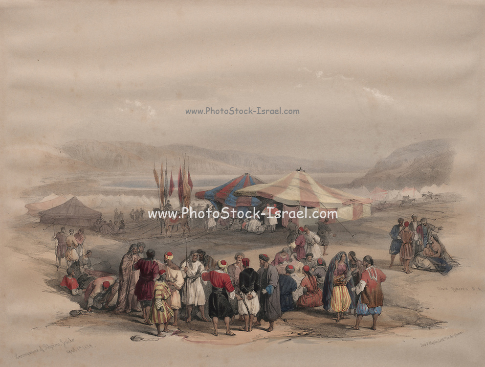 Encampment of Pilgrims, Jericho Watercolor painting by David Roberts (1796-1864). An engraving reprint by Louis Haghe was published in a the book 'The Holy Land, Syria, Idumea, Arabia, Egypt and Nubia. in 1855 by D. Appleton & Co., 346 & 348 Broadway in New York.