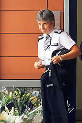 ©Licensed to London News Pictures 01/10/2020  <br /> Croydon, UK. Cressida Dick leaving after her visit. Metropolitan Police Commissioner Cressida Dick was at Croydon Custody Centre this morning for a visit. The murder investigation continues at pace after the death of police sergeant Matt Ratana almost a week ago at the Croydon Custody Centre in South London. Photo credit:Grant Falvey/LNP