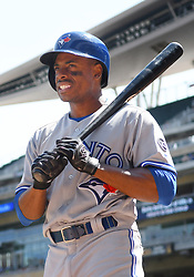 May 2, 2018 - Minneapolis, MN, U.S. - MINNEAPOLIS, MN - MAY 02: Toronto Blue Jays Outfield Curtis Granderson (18) in the on-deck circle during a MLB game between the Minnesota Twins and Toronto Blue Jays on May 2, 2018 at Target Field in Minneapolis, MN.The Twins defeated the Blue Jays 4-0.(Photo by Nick Wosika/Icon Sportswire) (Credit Image: © Nick Wosika/Icon SMI via ZUMA Press)