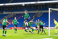 Birmingham City's Lukas Jutkiewicz (10) heads clear during the EFL Sky Bet Championship match between Cardiff City and Birmingham City at the Cardiff City Stadium, Cardiff, Wales on 16 December 2020.