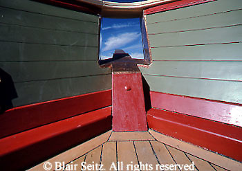 """Wooden bow reconstruction of War of 1812, American warship (inside), Flagship """"Niagara,"""" Erie, Erie Co., PA"""