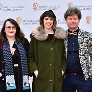 Guest, Lottie Bevan and Alexis Kennedy Arrivers at the British Academy (BAFTA) Games Awards at Queen Elizabeth Hall, Southbank Centre  on 4 March 2019, London, UK.