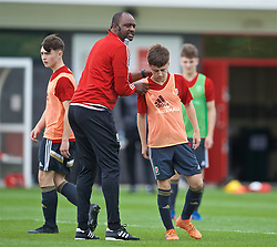 NEWPORT, WALES - Sunday, May 26, 2019: Patrick Vieira gives a practical demonstration of defending the opposition half during day three of the Football Association of Wales National Coaches Conference 2019 at Dragon Park. Lewys Twamley. (Pic by David Rawcliffe/Propaganda)