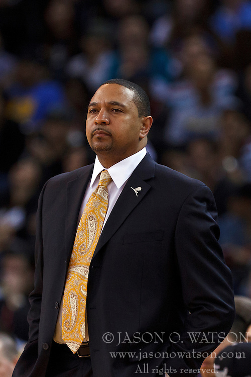 Mar 28, 2012; Oakland, CA, USA;  Golden State Warriors head coach Mark Jackson on the sidelines against the New Orleans Hornets during the second quarter at Oracle Arena. Mandatory Credit: Jason O. Watson-US PRESSWIRE