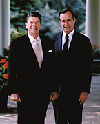 Ronald Wilson Reagan (1911-2004) 40th President of the United States 1981-1989, with his Vice-President and successor George Herbert Bush (born  1924) President of the United States 1989–1993. American Politician Republican