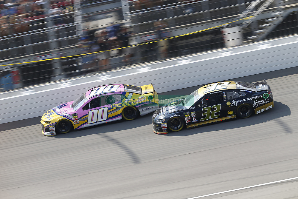 August 12, 2018 - Brooklyn, Michigan, United States of America - Landon Cassill (00) and Matt DiBenedetto (32) battle for position during the Consumers Energy 400 at Michigan International Speedway in Brooklyn, Michigan. (Credit Image: © Chris Owens Asp Inc/ASP via ZUMA Wire)