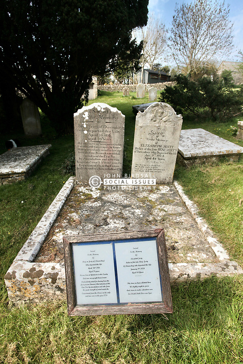 Covid 19 - Grave of Benjamin Jesty in a church yard in Worth Matravers, Dorset. During the Smallpox epidemic of 1774 he inoculated his wife and sons with Cowpox. Acting on the folk tale that milkmaids who contracted Cowpox gained immunity to the more lethal human Smallpox virus, also an airborne transmitted disease like the current Corona virus. Perhaps like minded leap of faith required some 200 years later!