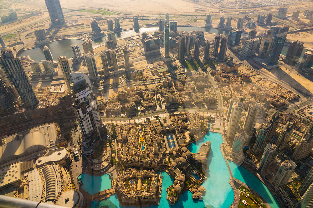 Overhead view of Dubai from the famous Burj Khalifa, the tallest building in the world, as of 2021, United Arab Emirates