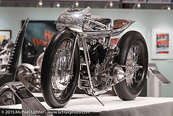 """Max Hazan's custom 1965 Harley-Davidson XLCH Supercharged Ironhead in Michael Lichter's Motorcycles as Art annual exhibition titled """"The Naked Truth"""" at the Buffalo Chip Gallery during the 75th Annual Sturgis Black Hills Motorcycle Rally.  SD, USA.  August 4, 2015.  Photography ©2015 Michael Lichter."""