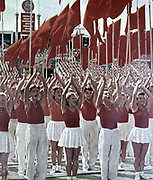 Gymnasts parading at a Festival of Youth,  in the USSR, 1950.