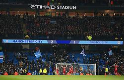 The final score reads Manchester City 2-1 Bristol City as the Bristol players applaud the travelling fans - Mandatory by-line: Matt McNulty/JMP - 09/01/2018 - FOOTBALL - Etihad Stadium - Manchester, England - Manchester City v Bristol City - Carabao Cup Semi-Final First Leg