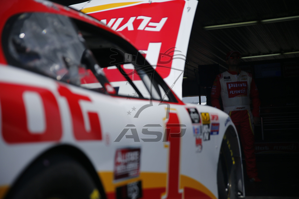 Michael Annett (1) takes to the track to practice for the Pocono Green 250 at Pocono Raceway in Long Pond, Pennsylvania.