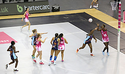 A general view of action between Severn Stars and London Pulse during the Vitality Netball Superleague Super Ten match held at Arena Birmingham