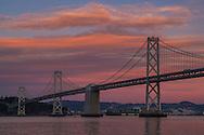San Francisco-Oakland Bay Bridge in evening, San Francisco, California