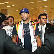 New Jersey Nets point guard Deron WILLIAMS arrives at Ataturk Airport together with his family on September 8, 2011, in Istanbul. Williams has joined the Besiktas Basketball Team until the end of the NBA lockout. The lock-out, a nationwide strike, was announced on July 1 after the owners of the NBA franchises and their players were unable to reach an agreement over salaries. Photo by TURKPIX