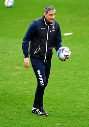 Cheltenham Town manager Michael Duff leads the warm up session- Mandatory by-line: Nizaam Jones/JMP - 20/02/2021 - FOOTBALL - Jonny-Rocks Stadium - Cheltenham, England - Cheltenham Town v Bradford City - Sky Bet League Two