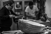 Master Oud maker Dr. Cengiz Sarikus and his son Veysel  at work in his Istanbul workshop