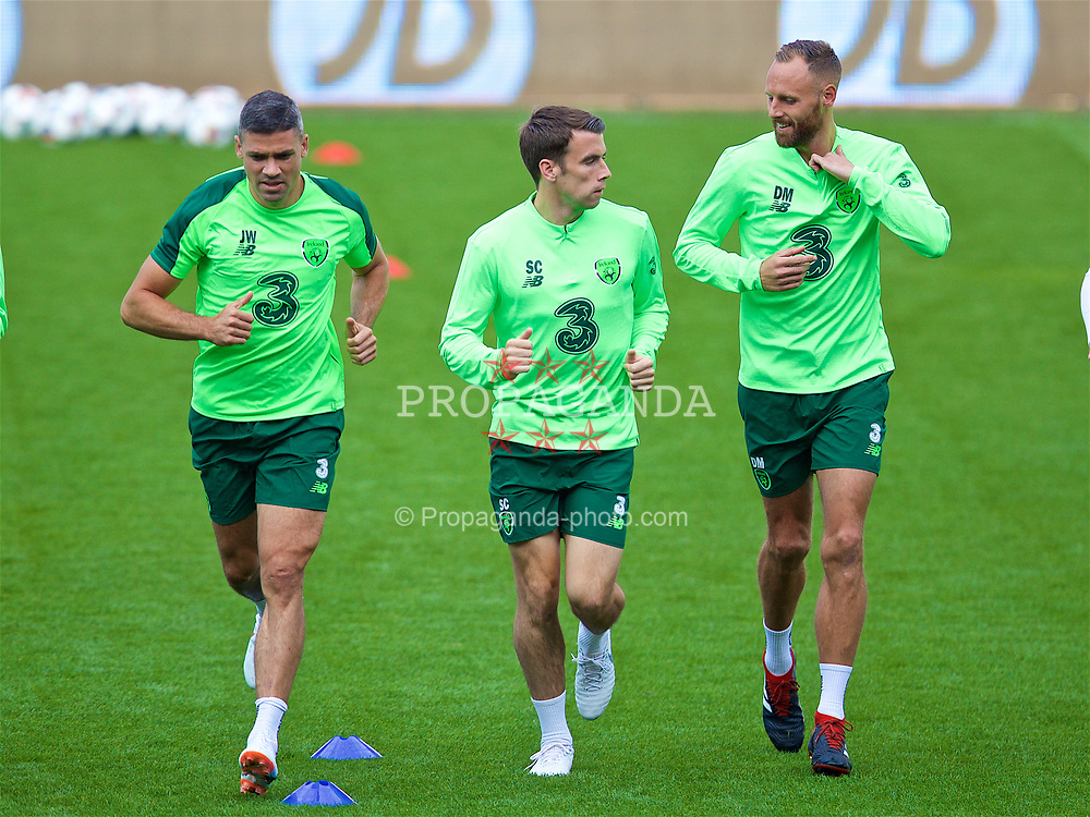 CARDIFF, WALES - Wednesday, September 5, 2018: Republic of Ireland's Jonathan Walters, captain Séamus Coleman and David Meyler during a training session at the Cardiff City Stadium ahead of the UEFA Nations League Group Stage League B Group 4 match between Wales and Republic of Ireland. (Pic by David Rawcliffe/Propaganda)