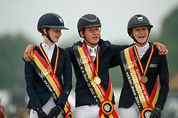 Podium Ponies, Nuytens Gilles, Bollen Malin, Van Gorp Marthe<br /> Belgisch Kampioenschap Ponies<br /> Azelhof - Koningshooikt 2018<br /> © Hippo Foto - Dirk Caremans<br /> 13/05/2018