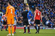 Portsmouth Forward, Oliver Hawkins (9) shown a yellow card during the EFL Sky Bet League 1 match between Portsmouth and Sunderland at Fratton Park, Portsmouth, England on 22 December 2018.