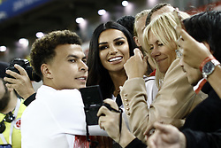 July 3, 2018 - Moscow, Russia - Dele Alli of England with his girlfriend Ruby Mae during the 2018 FIFA World Cup Russia Round of 16 match between Colombia and England at the Spartak Stadium in Moscow, Russia, on July 4, 2018. (Credit Image: © Mehdi Taamallah/NurPhoto via ZUMA Press)