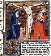 Joseph of Arimethea at Christ's Crucifixion,  receiving the Saviour's blood in the Hold Grail. From 'L'Histoire du Graal'. 15th century Manuscript.