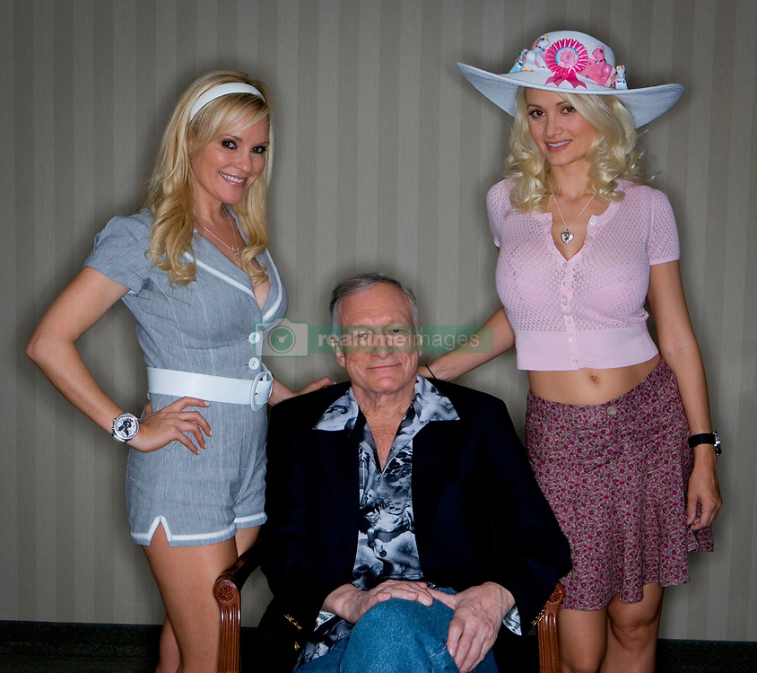 September 27, 2017 - FILE - HUGH MARSTON HEFNER (born: April 9, 1926 died: September 27, 2017) was an American men's lifestyle magazine publisher, businessman, and playboy. A multi-millionaire, his net worth at the time of his death was over $43 million due to his success as the founder of Playboy. Hefner was also a political activist and philanthropist active in several causes and public issues. Pictured: September 27, 2017 - FILE - HUGH MARSTON HEFNER (born: April 9, 1926 died: September 27, 2017) was an American men's lifestyle magazine publisher, businessman, and playboy. A multi-millionaire, his net worth at the time of his death was over $43 million due to his success as the founder of Playboy. Hefner was also a political activist and philanthropist active in several causes and public issues. Pictured: A portrait of Hugh Hefner with Bridget Marquardt, left and Holly Madison in his suite at the Galt Hoytel in Louisville, Ky. on Thursday May 2, 2008. Photo by Jenn Ackerman | Staff 5661  (Credit Image: © Lexington Herald Leader/ZUMA Press)