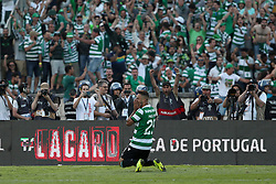 May 25, 2019 - Oeiras, Portugal - OEIRAS, PORTUGAL - MAY 25: Sporting's forward Luiz Phellype from Brazil celebrates after scoring the last penalty during the Portugal Cup Final football match Sporting CP vs FC Porto at Jamor stadium, on May 25, 2019, in Oeiras, outskirts of Lisbon, Portugal. (Credit Image: © Pedro Fiuza/NurPhoto via ZUMA Press)
