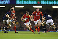 Gareth Davies of Wales © makes a break. RBS Six nations championship 2016, Wales v Scotland at the Principality Stadium in Cardiff, South Wales on Saturday 13th February 2016. <br /> pic by  Andrew Orchard, Andrew Orchard sports photography.