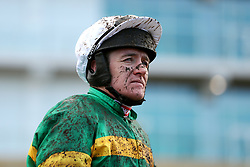 Jockey Barry Geraghty after his ride on Onefortheroadtom in the Ballymore Novices' Hurdle at Cheltenham Racecourse
