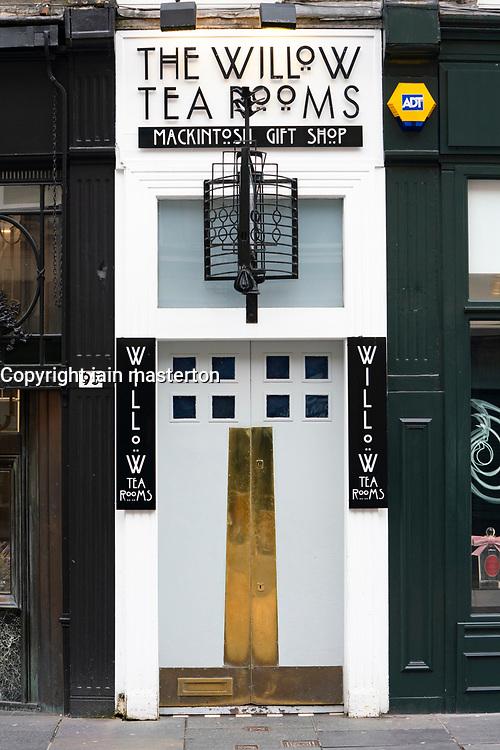 Exterior of The Willow Tearooms on Buchanan Street in Glasgow, Scotland, UK