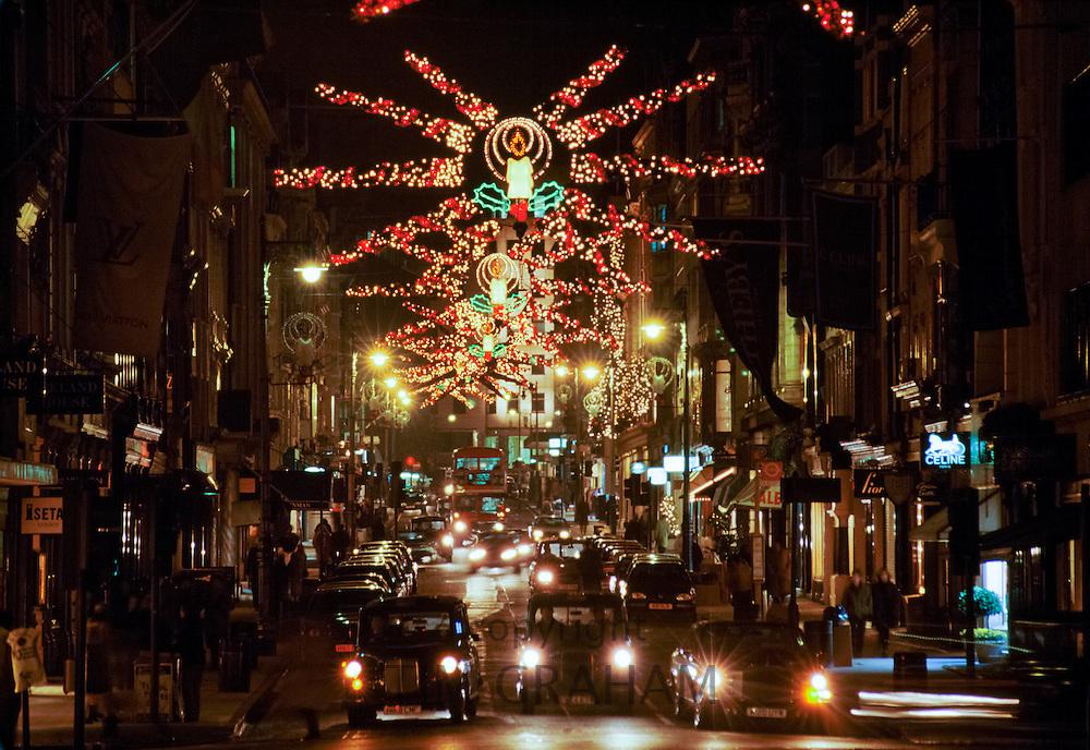 Christmas lights in Bond Street, London, UK
