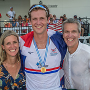 Lennny Jenkins from Whakatane (YALE) with his parents Mark and Mia Jenkins<br /> <br /> Compete at the FISA U23 Worlds on Sunday 28 July 2019 at Nathan Benderson Park, Sarasota, Florida, USA © Copyright photo Steve McArthur / www.photosport.nz
