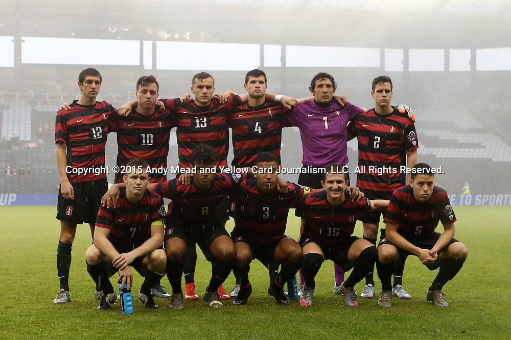 13 December 2015: Stanford's starters. Front row (from left): Ty Thompson, Brian Nana-Sinkam, Brandon Vincent, Eric Verso, Slater Meehan. Back row (from left): Drew Skundrich, Corey Baird, Jordan Morris, Tomas Hilliard-Arce, Andrew Epstein, Foster Langsdorf. The Clemson University Tigers played the Stanford University Cardinal at Sporting Park in Kansas City, Kansas in the 2015 NCAA Division I Men's College Cup championship match. Stanford won the game 4-0.