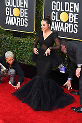 January 6, 2019 - Los Angeles, California, U.S. - Jan 6, 2019 - Beverly Hills, California, U.S. - Francia Raisa getting some help during red carpet arrivals for the 76th Annual Golden Globe Awards at The Beverly Hilton Hotel..(Credit: © Kevin Sullivan via ZUMA Wire) (Credit Image: © Kevin Sullivan via ZUMA Wire)