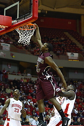 12 February 2011: Jermaine Mallett attempts the jam after a steel and break but the ball bounces off the rim during an NCAA Missouri Valley Conference basketball game between the Missouri State Bears and the Illinois State Redbirds at Redbird Arena in Normal Illinois.