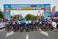 Rider line up for the start at Tour of Chongming Island 2019 - Stage 1, a 102.7 km road race on Chongming Island, China on May 9, 2019. Photo by Sean Robinson/velofocus.com